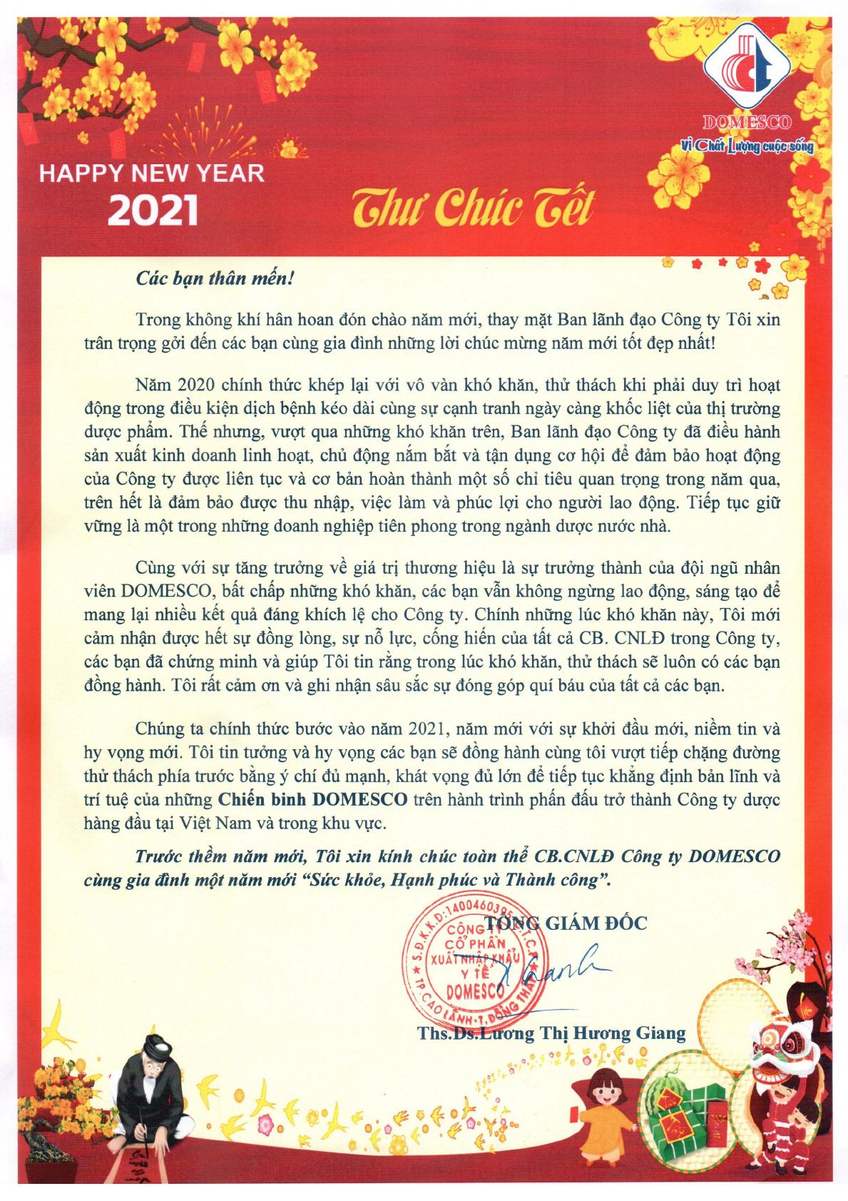 THƯ CHÚC TẾT TÂN SỬU 2021