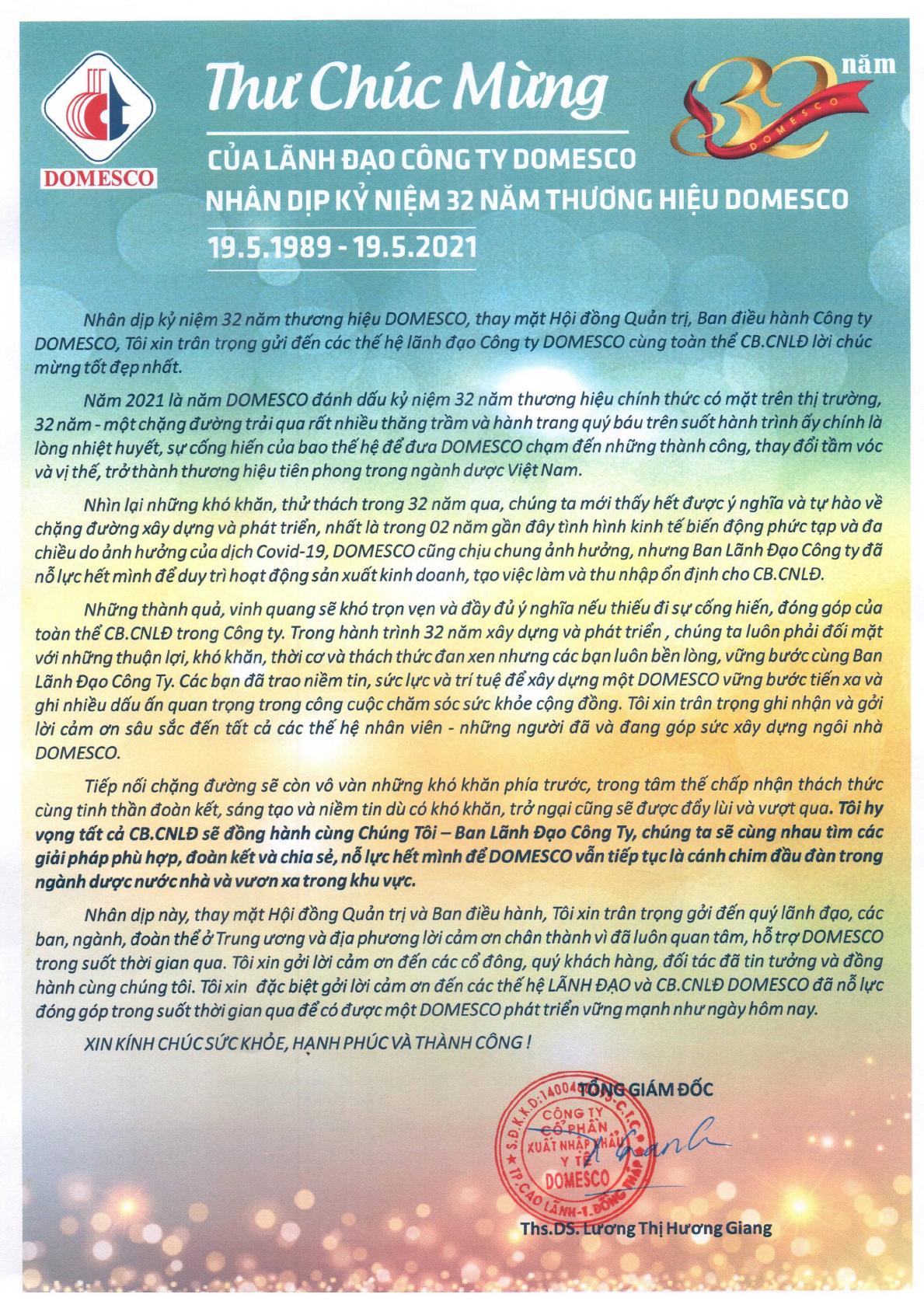 THƯ CHÚC MỪNG CỦA LẢNH ĐẠO CÔNG TY NHÂN DỊP 32 NĂM THƯƠNG HIỆU DOMESCO 19/05/1989 - 19/05/2021